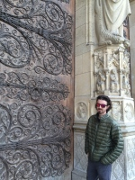 Me outside of Notre Dame Cathedral Door.